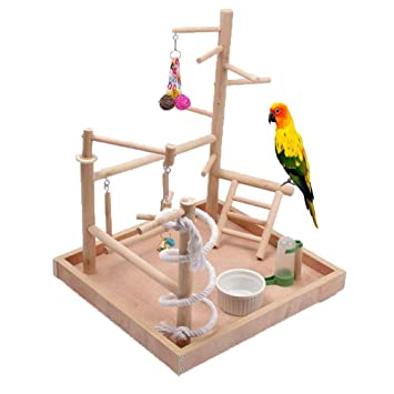 Bird Cage Stand Para Loros, Bird Playground, Perchas De Madera ...