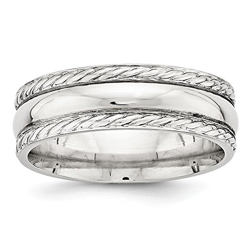 (Jewelry Stores Network 6mm Sterling Silver Polished Twisted Rope Edge Wedding Band Ring)
