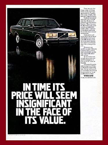1981 VOLVO BERTONE COUPE * In time its price will seem insignificant in face of itrs value. * LARGE VINTAGE COLOR AD USA - GORGEOUS ORIGINAL !!