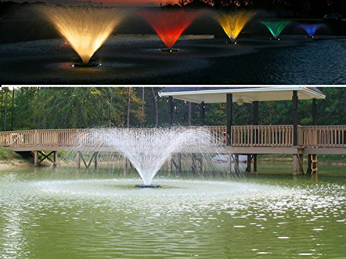 Kasco Lighted Decorative Aerating Lake & Pond Fountain WITH LED LIGHTS - 1 HP 4400VFX Plus 3 LED Lighting Set 100ft cord - 110 volt ()
