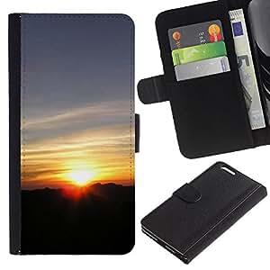 LASTONE PHONE CASE / Lujo Billetera de Cuero Caso del tirón Titular de la tarjeta Flip Carcasa Funda para Apple Iphone 6 PLUS 5.5 / Sunset Beautiful Nature 117