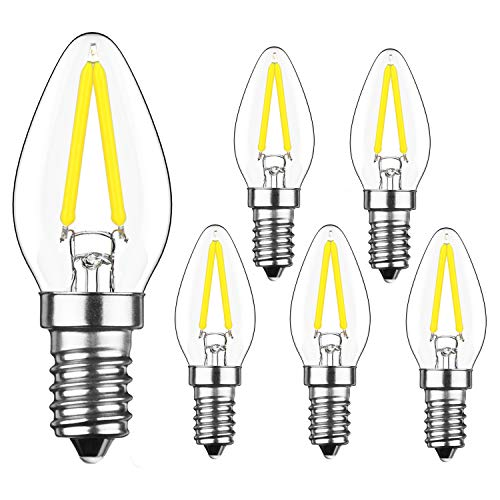 YIUN 2W LED Filament C7 Night Light Bulb, 6000K Cold White 200LM, E12 Candelabra Base Lamp C7 Mini Torpedo Shape, 15W Incandescent Bulbs Equivalent, Dimmable, 6 - Base C7 Candelabra