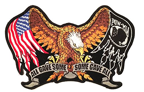 All Gave some, some gave all , (Respect to all our Vets )Large sewing patches, Bald eagle design ,BiG size Jacket patch. American Military, Motorcycle biker, pow, Mia, riding jacket patch American Eagle Vest