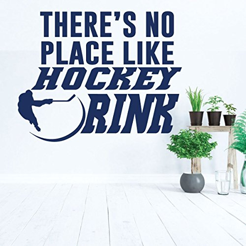Hockey Wall Decal - There is No Place Like Hockey Rink - Player Shooting Puck - Vinyl Decoration for Boys Bedroom, Playroom or Man Cave (Jet Rink)