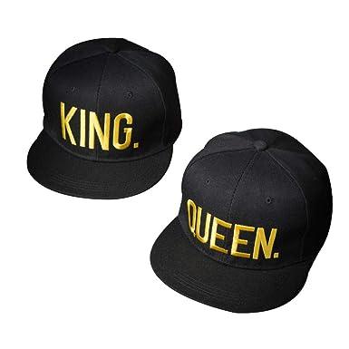 TENDYCOCO Gorras de béisbol Rey y Reina Amantes Bordados Parejas Snapback Caps para Parejas Mujeres Hombres 2pcs: Amazon.es: Ropa y accesorios