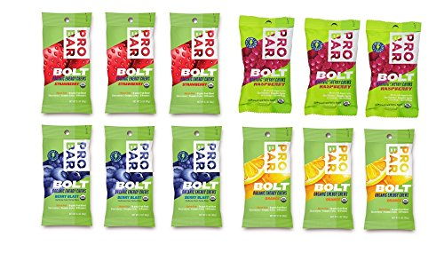 Probar Bolt Organic Energy Chews Orange, Raspberry, Strawberry, Berry Blast - Three of Each Flavor, Box of 12