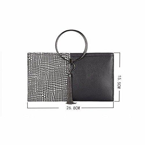 bolsa mensajero Black cuero de color de bolsa nuevo hit 2018 Black Clutch mano wgCqv6