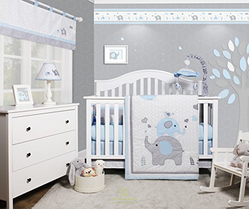 Bedding Crib Boy (GEENNY OptimaBaby Blue Grey Elephant 6 Piece Baby Nursery Crib Bedding Set)