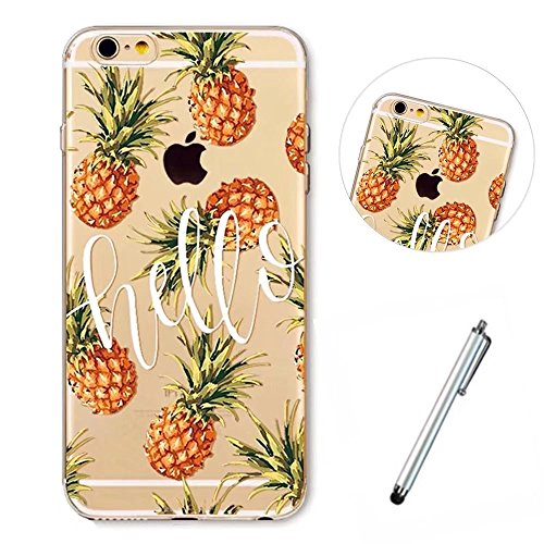 Wakso Phone Case for iphoneSE/5/5S Cover Ultra Thin Shell TPU Clear Anti-shock Case - Hello Pineapples + Metal Touch Pen