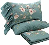 HOMIGOO Elegant FLoral Printed Fitted Sheet Country Style Pure Cotton Flat Sheet Twin Deep Blue