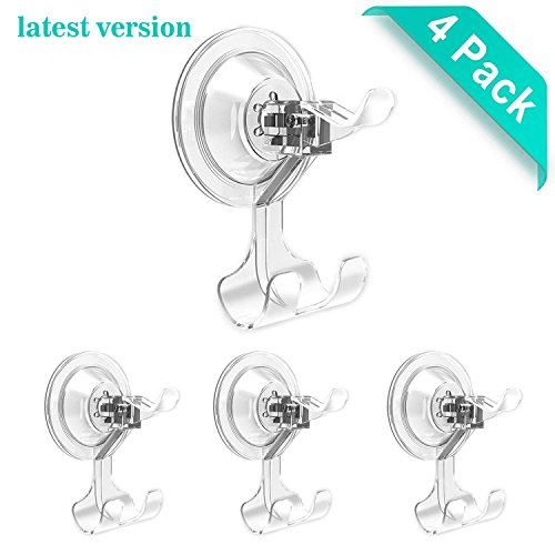 Suction Hook LUXEAR Transparent Reusable Hook Super Heavy Duty Adhesive Bathroom Livingroom Kitchen Hook No Scratch Waterproof Oilproof Kitchen Wall Hanger (4 pcs Transparent) by LUXEAR