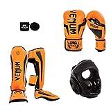 Venum Elite Standup Bundle, 8 oz Gloves, Large Shinguards, Neo Orange Gloves, Neo Orange Shinguards, Black Headgear, Black Handwraps