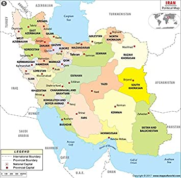Amazon Com Iran Political Map Laminated 36 W X 35 42 H