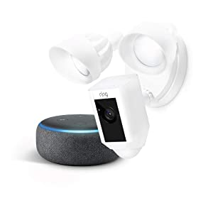 Ring Floodlight Camera (White) with Echo Dot (Charcoal)