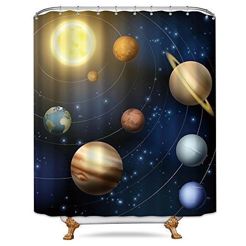 Riyidecor Planet Solar System Shower Curtain Free Metal Hooks 12-Pack Universe Galaxy Space Educational Planetary Orbit Decor Fabric Bathroom Set Polyester Waterproof 72x72 Inch by Cdcurtain