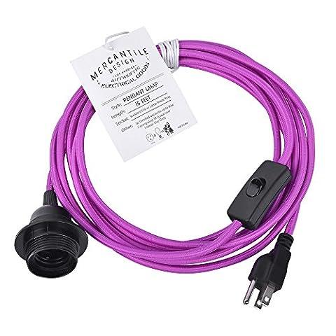 Swag Light Hanging Pendant Light Cloth Cord Kit Multiple Colors - Dark Magenta (Magenta Lamp)