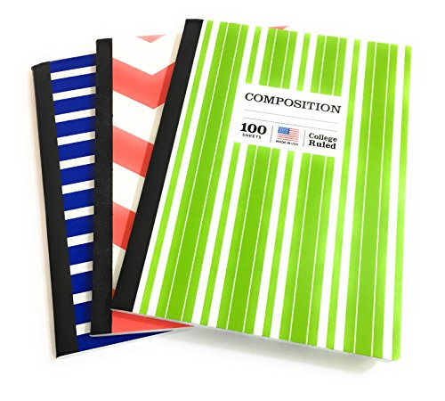 BACK TO SCHOOL SUPPLIES COLLEGE COMPOSITION NOTEBOOKS, SET OF THREE, Red, Herrington Pattern and Lime Green and Blue Stripes
