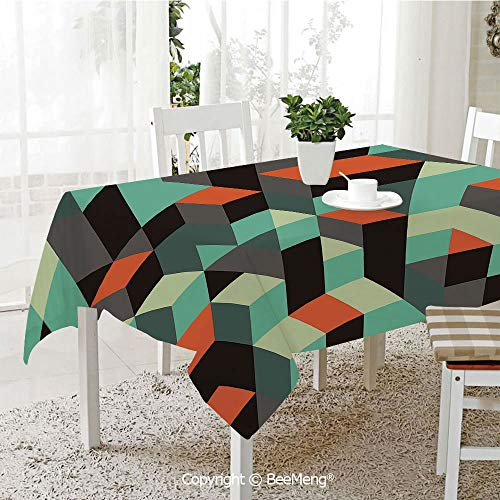 BeeMeng Large Family Picnic Tablecloth,Easy to Carry Outdoors,Modern Decor,Geometric Print with Squares Triangles and Shadows Zig Zag Decorative Image,Multicolor,59 x 104 inches