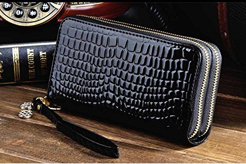 JD Million shop Purse Women Patent Leather Purses Women Wallets Luxury Brand Wallet Double Zipper