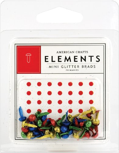 American Crafts Mini Eyelets - American Crafts Elements Mini Glitter Brads, Primaries