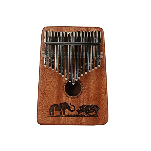 Kalimba Mbira Sanza 17 Keys Thumb Piano Portable Pocket Size Beginners Friendly Solid Finger Piano Mahogany Body Ore Metal Tines with Cruved Elephant and Rhinoceros by WANDIC