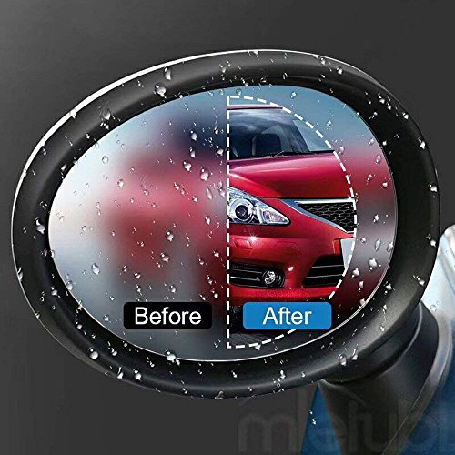 Odoland Car Side Mirror Film, Car Rearview Mirror Film with Wide Angle, Anti-Water Anti-Mist Film Anti-Fog Anti-Explosion Anti-Glare Film, Protective Film for All Cars Traffic Safety (Round, 2 PCS)
