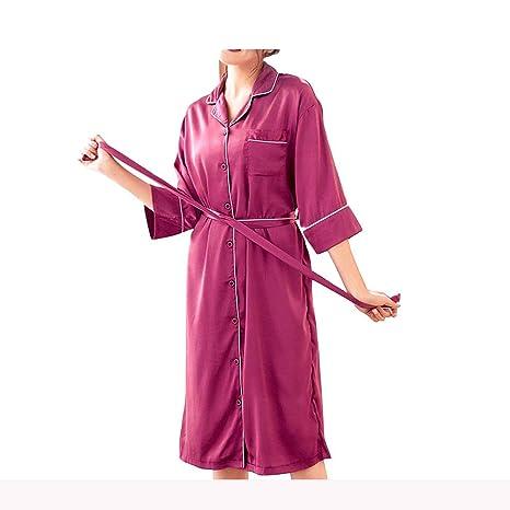 GX Bata Kimono de Seda de Manga Corta para Mujer, Novia y Dama de Honor