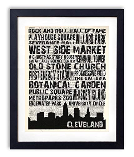 Cleveland Landmarks Skyline and Typography Dictionary Art Print 8x10 from Vintage Book Art Co.