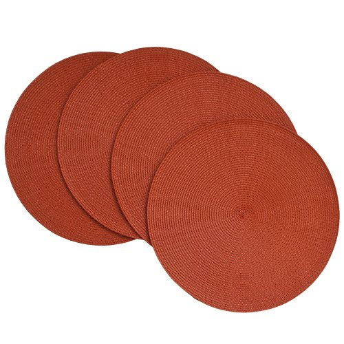 Benson Mills Victorian 15-Inch Round Placemats, Brick, Set of 4