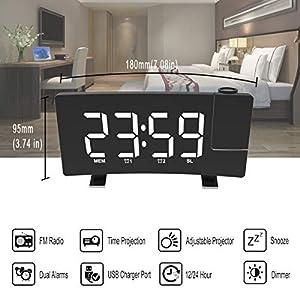 Digital Alarm Clock Projection Bedroom LED Dual Alarms SNOOZE USB Charging Port