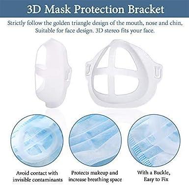 2020 Nuova Staffa di Supporto 3D Aiuta a Respirare Senza Problemi,Bianca 5 PCS Supporto per la Protezione del Rossetto Fresco Protezione del Naso Traspirante Staffa