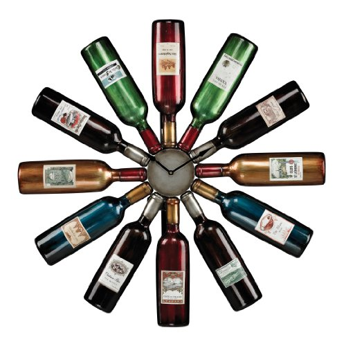 Sterling Wine Bottle Clock - metallic wall decor