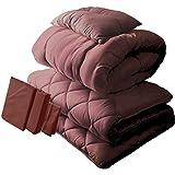布団6点セット 日本製 帝人 ボリュームアップ ブラウンカバー付き 抗菌 防臭 防ダニ加工 シングル ブラウン 固綿5層式