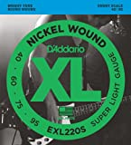 D\'Addario EXL220S Nickel Wound Bass Guitar Strings, Super Light, 40-95, Short  Scale