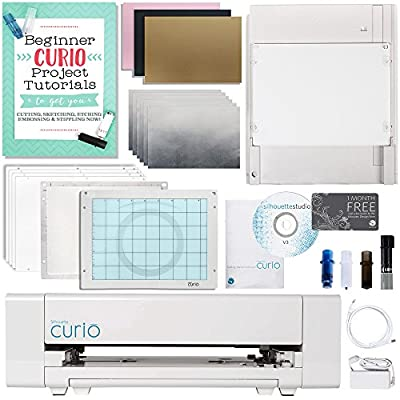 Silhouette Curio Digital Crafting Machine with Metal Etching and Sippling Bundle