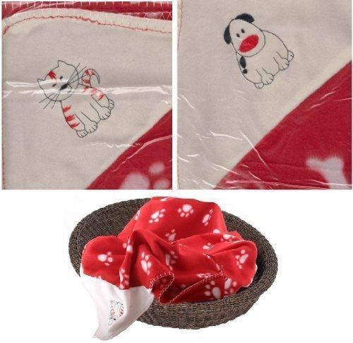 Weihnachten Haustier-decke Fleecedecke 74cm ca. rot & weiß - KATZE Design