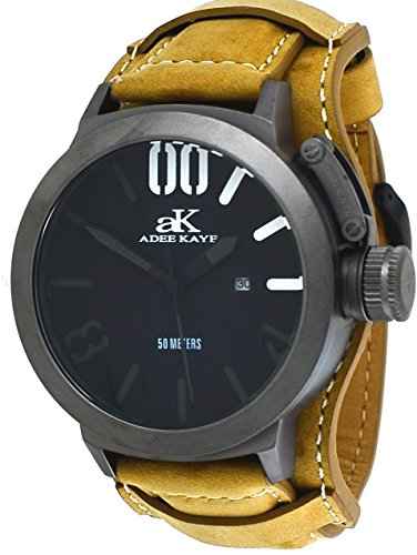 Adee Kaye #AK7285-IP/TAN Men's Gunmetal Tone Canteen Crown Protector Leather Band Watch