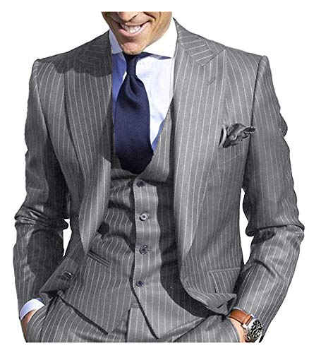 Custom Fit Pinstripe Suit - JYDress Men's Pinstripe Suit Slim Fit Stripe Peaked Lapel Jacket Vest Pants Sets Grey