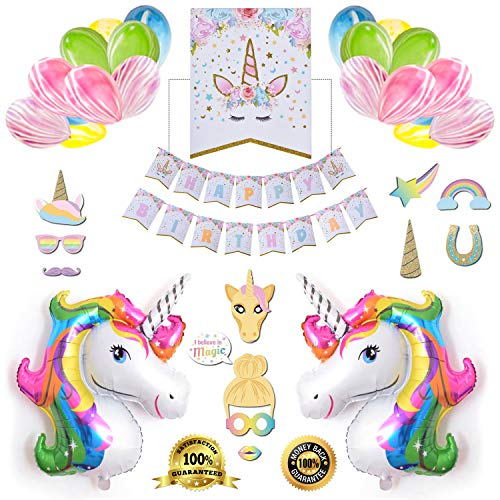 Unicorn Birthday Party Supplies | Unicorn Birthday Party Decorations for Girls | Unicorn Party Balloons Favors for Girls | 3D Realty Unicorn Balloons - Selfie Mask - Happy Birthday Banner - 50Pcs Set