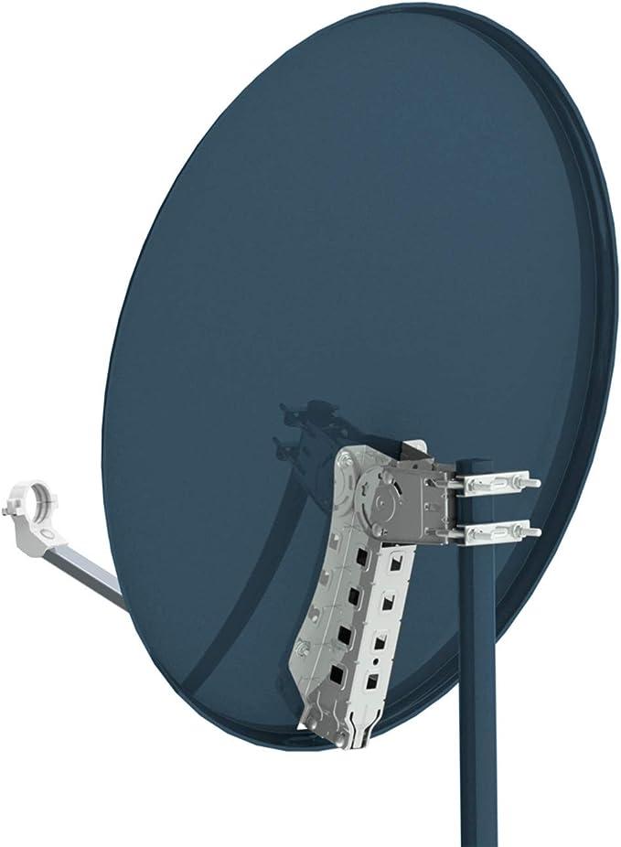 Opticum X80 de Antena parabólica de 80 cm con LNB Quad LQP-04H Acero Antracita (Importado)
