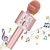 Micrófono Karaoke Bluetooth, Portátil Inalámbrica Micrófono y Altavoz del Karaoke con LED para Niños Canta Partido Musica, el