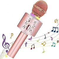 Micrófono Karaoke Bluetooth, Portátil Inalámbrica Micrófono y Altavoz del Karaoke con LED para Niños Canta Partido…