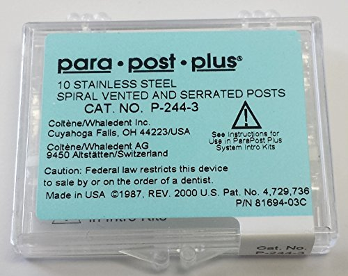 Coltene Whaledent P2443 ParaPost Plus P244 Refill Post, Size 3, Brown, Stainless Steel (Pack of 10)