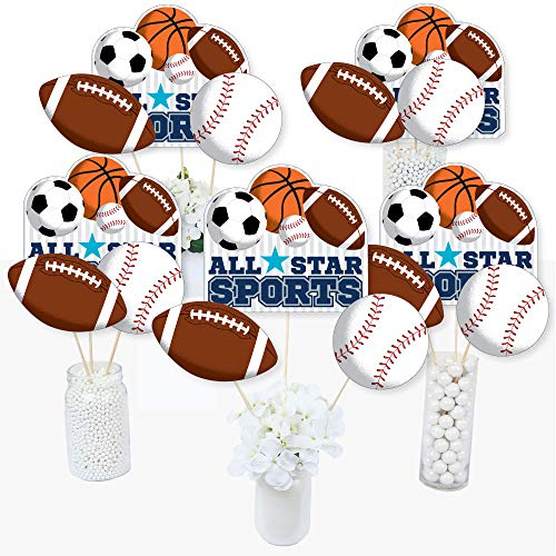 (Go, Fight, Win - Sports - Baby Shower or Birthday Party Centerpiece Sticks - Table Toppers - Set of)