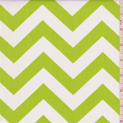 Zig Zag Lime Green Poplin, Fabric By the Yard -