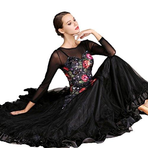 Maille Pour Impression Robe Nationale Black Valse Professionnelle Standard Compétition Femme Costume Salon Épissure De Performance Moderne Danse Robes l Wqwlf Mode xZqwfUYZ