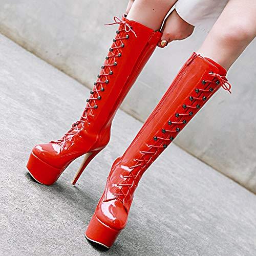 AOSPHIRAYLIAN Women's Platform Front Lace Up Knee High Boots Stiletto High Heel Boots
