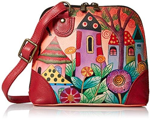 Anna by Anuschka Women's Genuine Leather Small Zip-Around Handbag | Multi Compartment Organizer |Village of Dreams