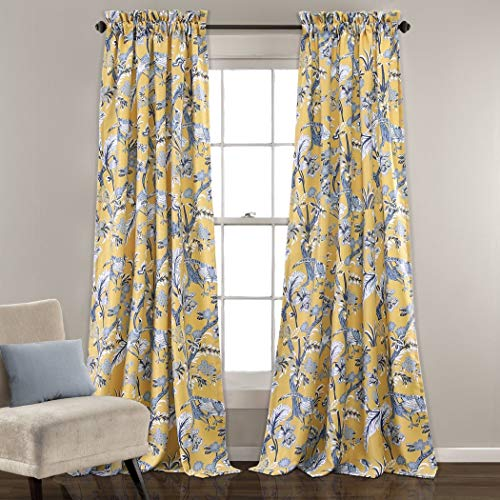 OVS 2 Piece 84 Inch Girls Yellow Color Floral Curtain Panel Pair, Blue Color Window Drapes, Kids Themed Animal Print Energy Efficient Room Darkening Rod Pocket Playful Luxurious, Polyester -