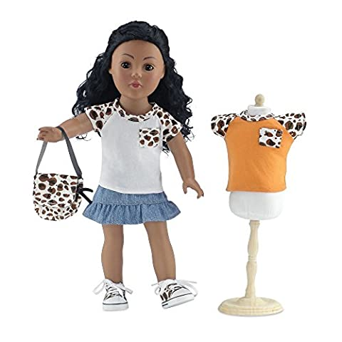 18 Inch Doll Clothes | Blue Denim Ruffled Skirt Value Set, Includes Skirt, 2 Short Sleeved T-Shirts with Cheetah Print Sleeves, Matching Cheetah Print Sneakers and Purse | Fits American Girl - Purse Doll Clothes